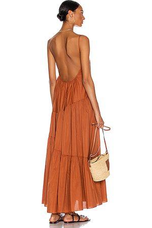 MATTEAU Asymmetric Tiered Sun Dress in Toffee