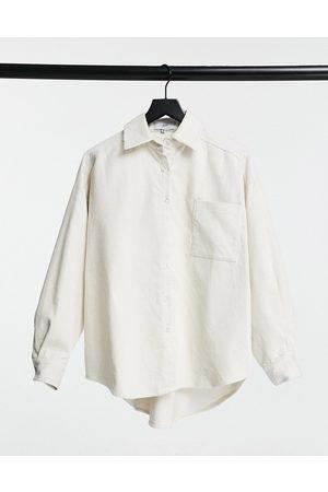 Sixth June Oversized shirt in cream cord