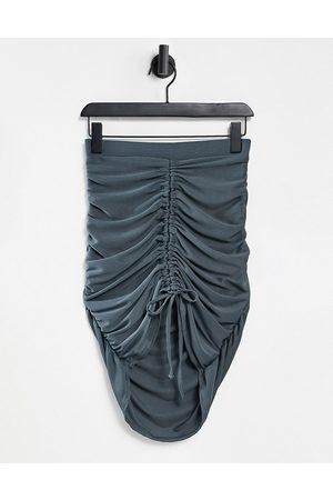 Club L Ruched mini skirt in slate-Purple