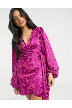 Forever New Curve wrap ruched mini dress with balloon sleeve in bright fuchsia-Pink