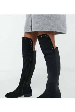 Simply Be Extra Wide Fit faux suede knee high boots in black