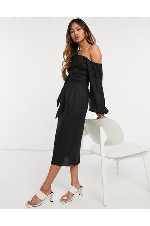 ASOS Belted fallen shoulder midi pencil dress in black
