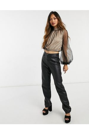 Forever U High-neck gathered polka dot mesh blouse with balloon sleeves in black-Multi