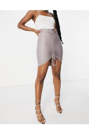 Club L Ruched mini skirt in mauve-Purple