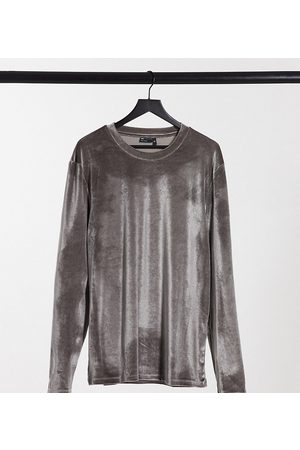 ASOS Plus muscle long sleeve t-shirt with stretch with roll neck in grey velour