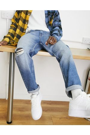 ASOS Straight crop jeans in vintage mid wash blue with knee abrasions