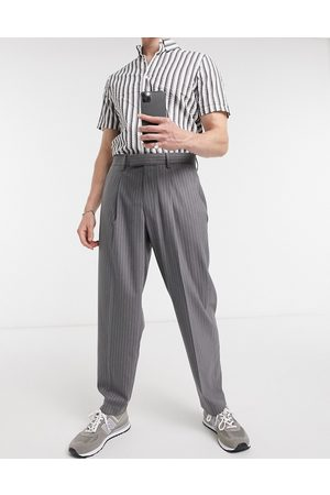 ASOS Oversized tapered smart pants in grey pinstripe