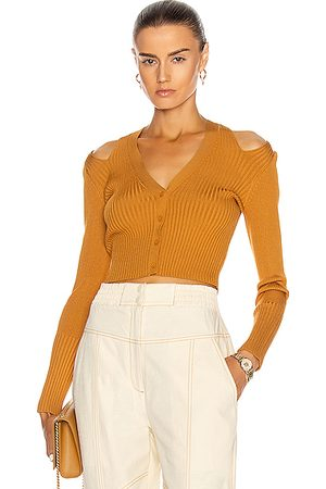 JONATHAN SIMKHAI Jolie Cut Out Cardigan in Ochre