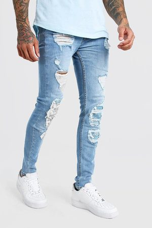 Boohoo Mens Ice Super Skinny Bandana Biker Rip and Repair Jeans