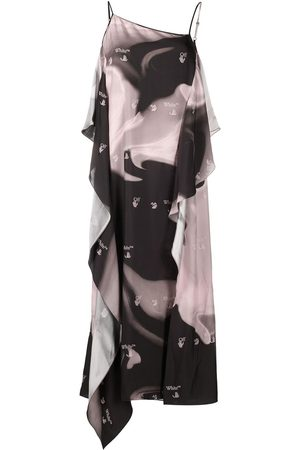 OFF-WHITE LIQUID MELT WAVES SLIP DRESS NUDE BLAC