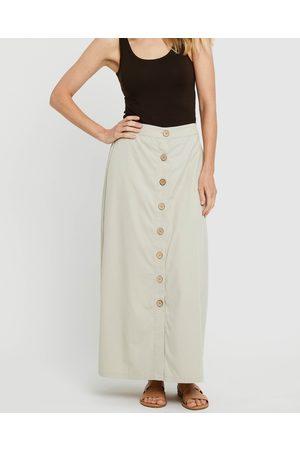 Bamboo Body Women Maxi Skirts - Woven Button Skirt - Skirts (Bone) Woven Button Skirt