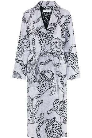 Desmond & Dempsey Jaguar-print cotton robe
