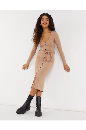 New Look Soft rib tie belt dress in camel-Tan