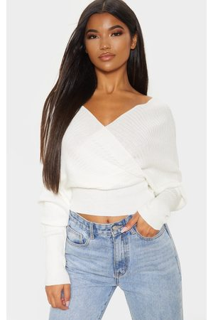 PRETTYLITTLETHING Ivory Wrap Off The Shoulder Jumper