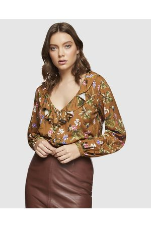 Oxford Ana Floral Top - Tops (Mustard) Ana Floral Top