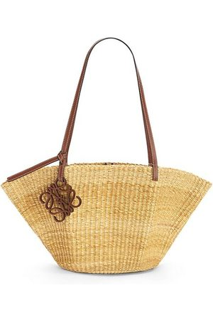 Loewe Tote Bags - Small Shell Leather-Trimmed Basket Bag
