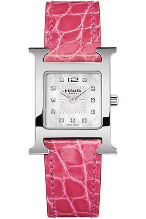 Hermès Heure H 21MM Stainless Steel & Alligator Strap Watch