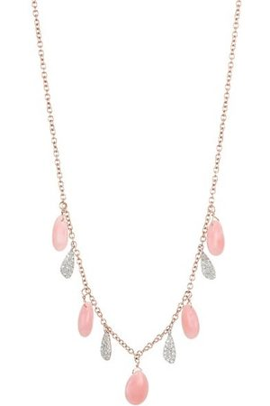 Meira T 14K Rose Gold & 14K White Gold Diamonds Pink Opal Drop Necklace
