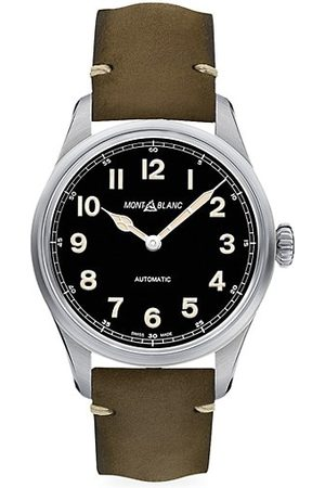 Mont Blanc 1858 Stainless Steel & Leather Strap Automatic Watch