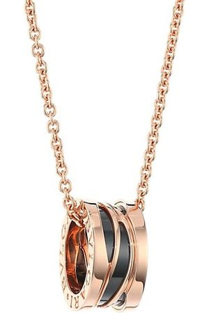 Bvlgari B.zero1 Design Legend 18K Rose Gold & Black Ceramic Necklace