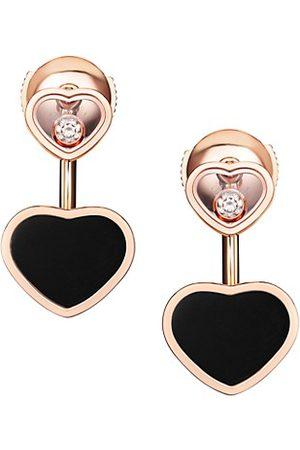 Chopard Happy Hearts 18K , Diamond & Onyx Earrings