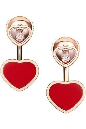 Chopard Happy Hearts 18K , Diamond & Red Stone Earrings
