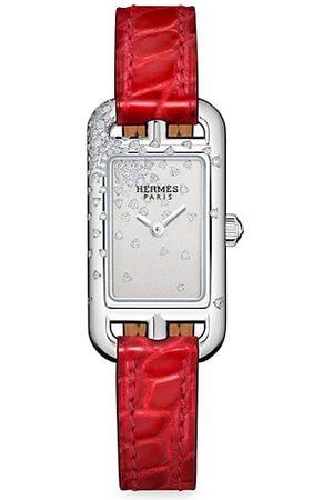 Hermès Nantucket Diamond, Stainless Steel & Alligator Strap Watch