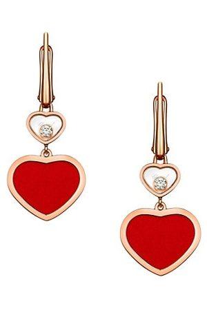 Chopard Happy Hearts 18K , Diamond & Red Stone Drop Earrings