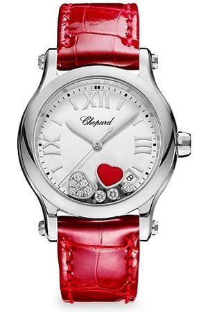 Chopard Happy Hearts Ronde Stainless Steel, Diamond & Alligator-Strap Watch