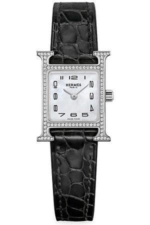 Hermès Heure H Diamond, Steel & Alligator Strap Watch