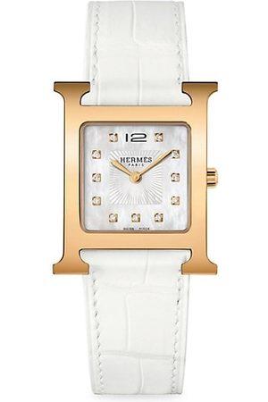 Hermès Watches - Heure H Diamond, Rose Goldplated Steel & Alligator Strap Watch
