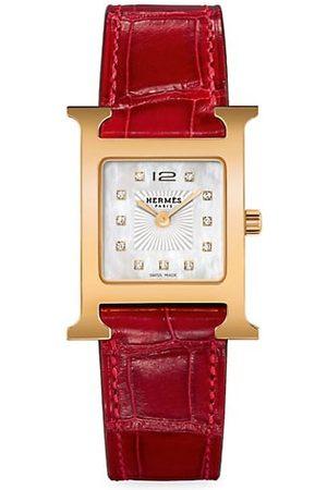 Hermès Heure H Diamond, Rose Goldplated Steel & Alligator Strap Watch