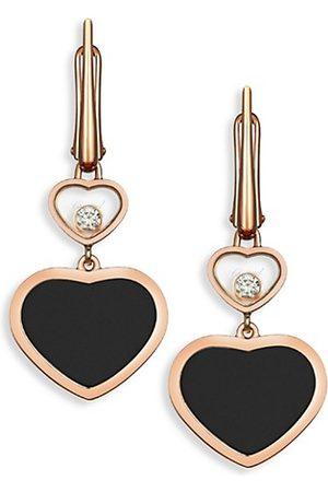 Chopard Happy Hearts 18K Diamond & Black Onyx Drop Earrings