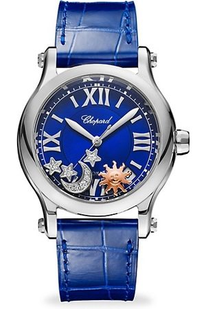 Chopard Happy Sport Automatic Stainless Steel Sapphire & Diamond Leather Strap Watch