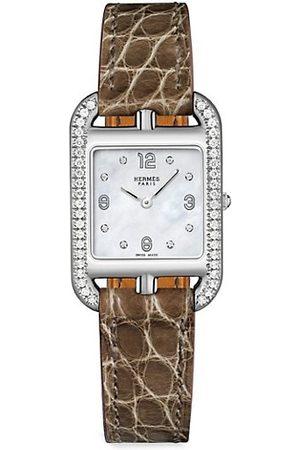 Hermès Cape Cod 23MM Diamond, Stainless Steel & Alligator Strap Watch