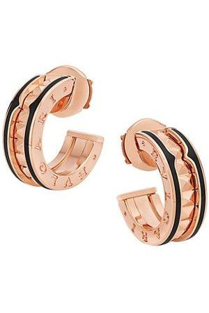 Bvlgari B.zero1 Rock 18K Rose Gold & Black Ceramic Hoop Earrings