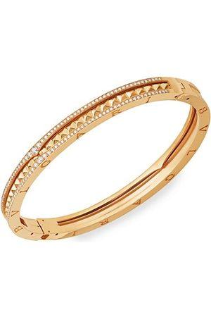 Bvlgari B.zero1 Rock 18K Yellow & Diamond Hinged Bangle Bracelet