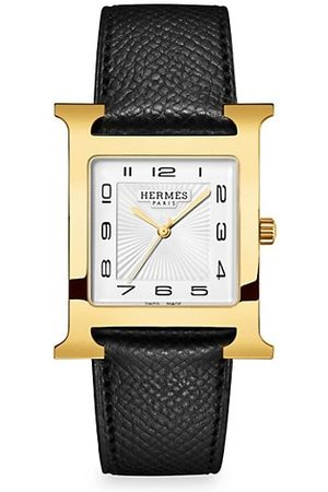 Hermès Heure H 30.5MM Goldplated & Leather Strap Watch