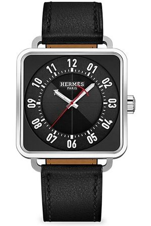 Hermès Carre H 38MM Square Stainless Steel & Leather Strap Watch