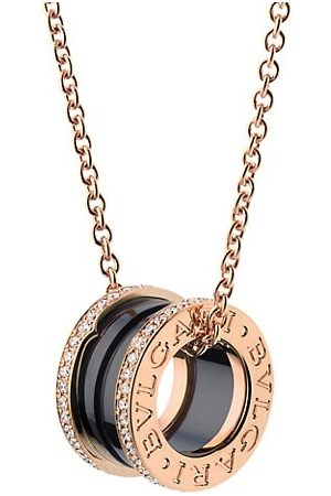 Bvlgari B.zero1 18K , Black Ceramic & Diamond Pendant Necklace