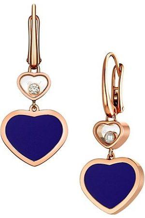 Chopard Earrings - Happy Hearts 18K Rose Gold, Diamond & Blue Stone Drop Earrings