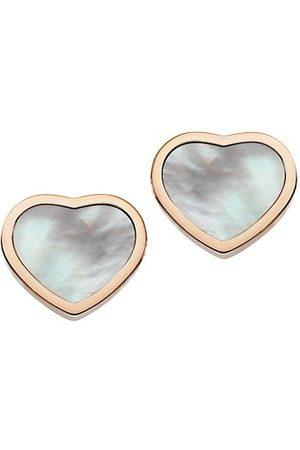 Chopard Happy Hearts 18K Rose Gold & Mother-Of-Pearl Stud Earrings