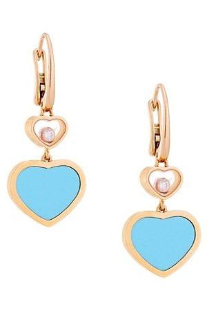 Chopard Happy Hearts 18K , Diamond & Turquoise Drop Earrings