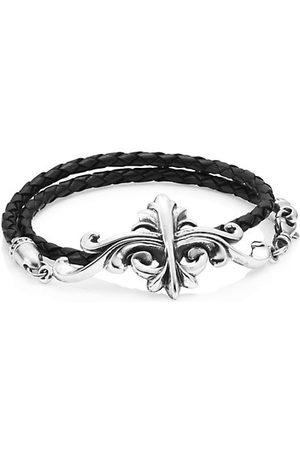 King Baby Studio Men Bracelets - Armor Sterling Silver & Leather Double Wrap Bracelet