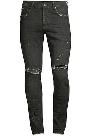 Purple Brand P001 Slim-Fit Black Over Spray Jeans