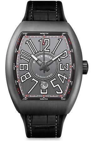 FRANCK MULLER Men Watches - Vanguard Brushed Titanium, Alligator-Embossed Leather & Rubber Strap Watch