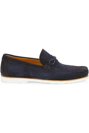 Saks Fifth Avenue COLLECTION BY MAGNANNI Braided Loop Cross-Strap Suede Loafers