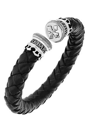 King Baby Studio New Classics Leather Wrap Stainless Steel Cuff