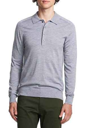 THEORY Men Long sleeves - Long-Sleeve Heathered Polo Shirt