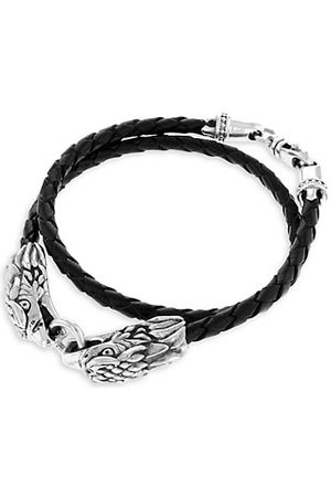 King Baby Studio Sterling Silver Leather Double Eagle Braided Bracelet